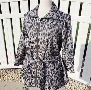 Leopard print zip up jacket black gray silver 12